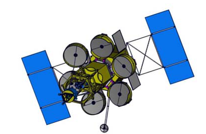 Thales satellite in deployed configuration (baffle is missing)