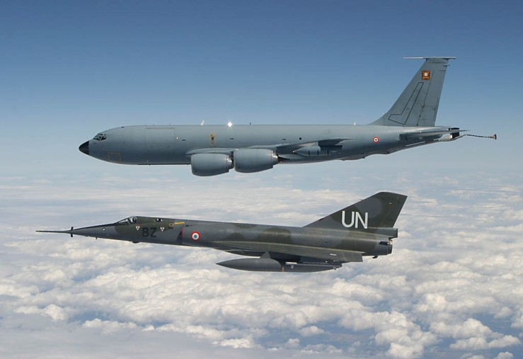 A Mirage IV and a C-135 tanker